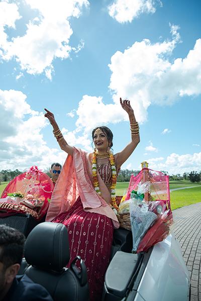 Indian Bride dancing in Baraat
