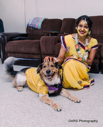 Indian Bride Posing with her Pet
