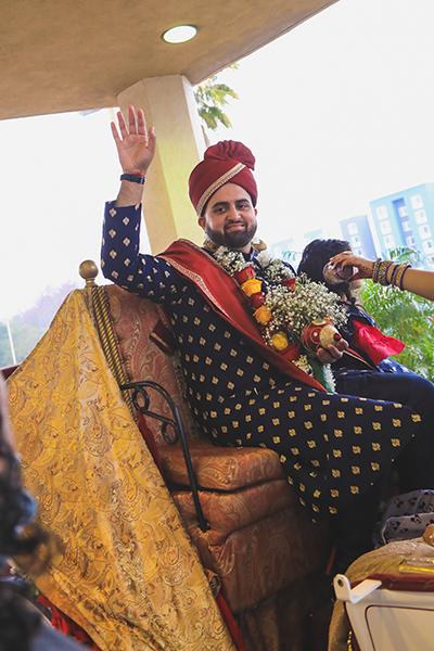 Indian groom coming to wedding venue
