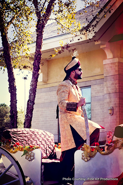 Indian Groom Riding on horse carriage