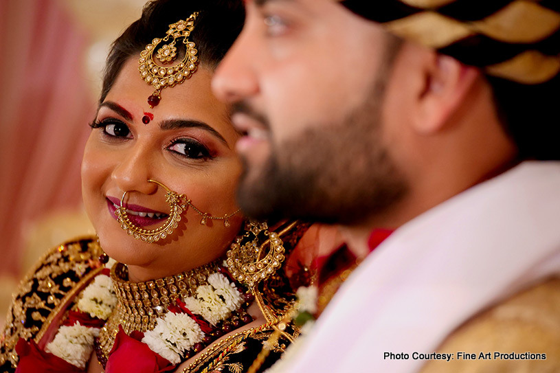 Indian bride looking at the Groom