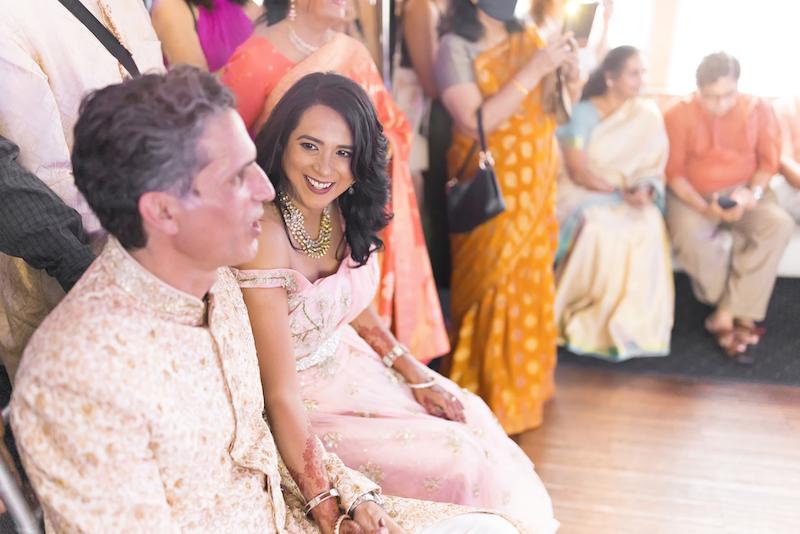 Indian bride looking at grooms eyes
