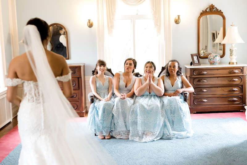 Wow!! feeling after looking indian bride in wedding gown by bridesmaid