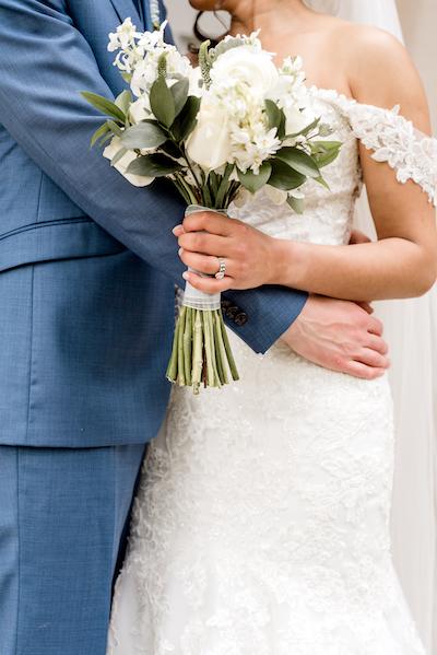 Love Bird with wedding bouquet