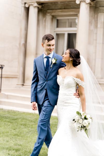 wedding couple ready in wedding dress