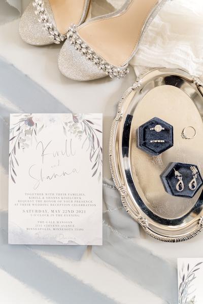 Fusion wedding Invitation card with bridal wedding accessories