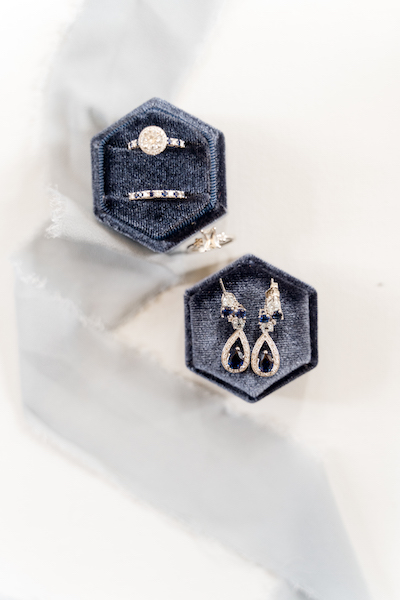 Very Pretty Diamond righ and earing with blue gem stone