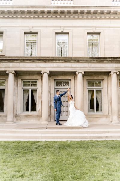 Wedding couple in dancing mood