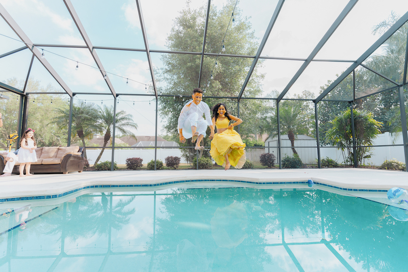 Indian Bride and Groom Jumping in swimmung pool after Haldi Ceremony