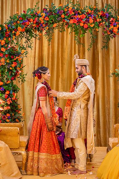 Indian wedding garland exchange ceremony