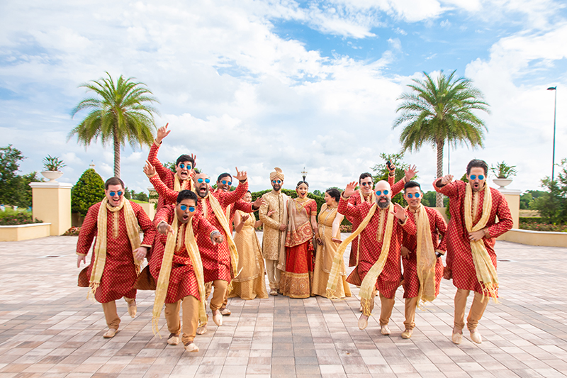 Amazing outdoor capture of Indian Bride and groom with friends