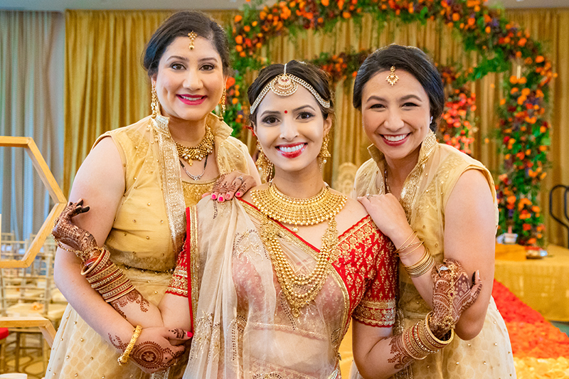 Bride Posing with Cousins