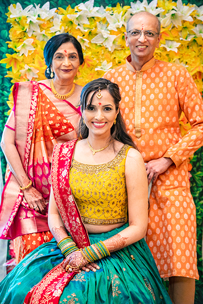 Indian Bride posing with parents