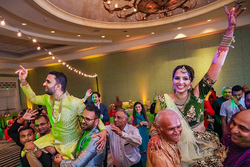 Indian couple having fun at sangeet