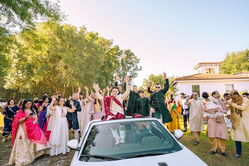 Indian bride dancing During Jaan Prasthan