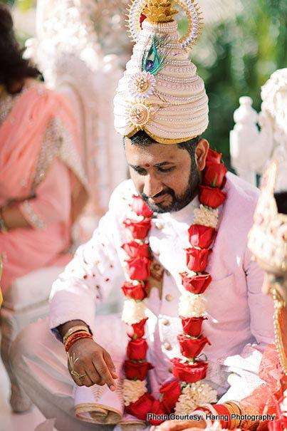 Indian Groom sitting in wedding chauri