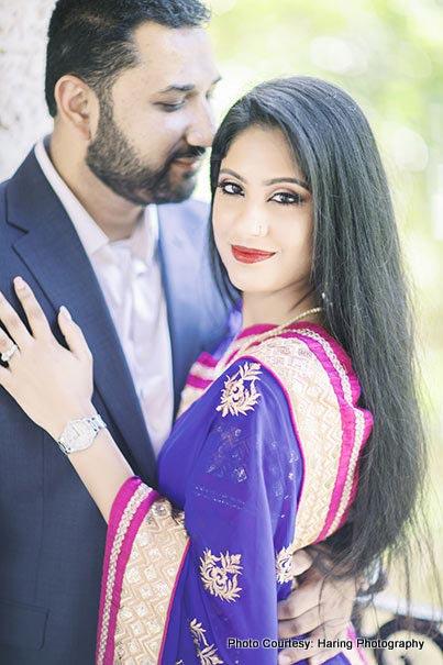 Groom looking at Indian Bride