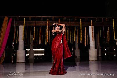 Indian bride dancing at Sangeet