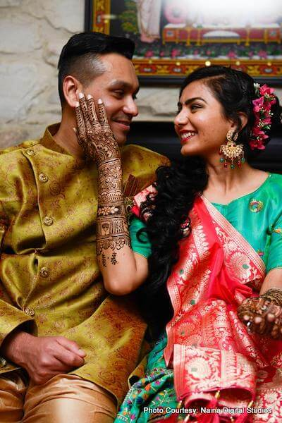 Indian Couple ready for Sangeet ceremony
