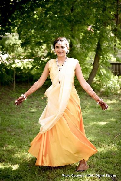Indian Bride look stunning in haldi dress