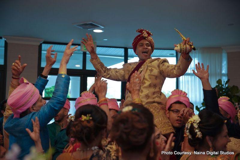 Indian Groom Enjoying their Baraat ceremony