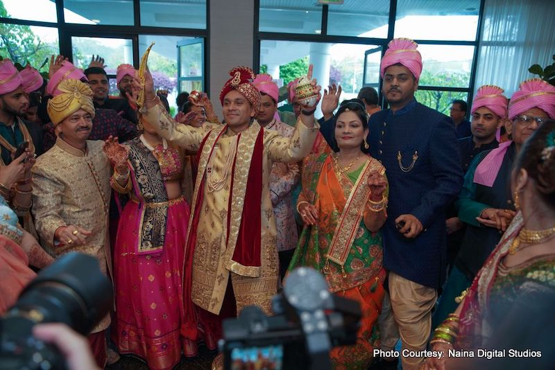 Indian Groom Dancing with his guest in Baraat