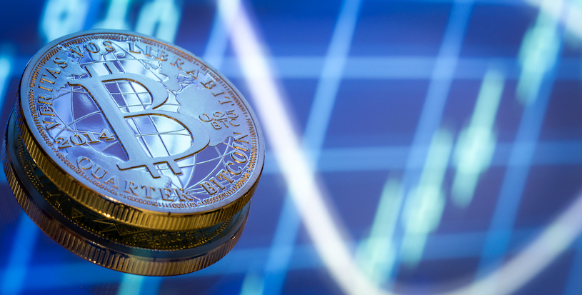 Bitcoin, a new concept of virtual money, graphics and digital background. Gold coin with the image of the letter B