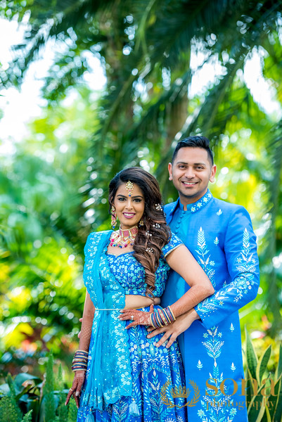 Amazing Blue Wedding pre function clothes