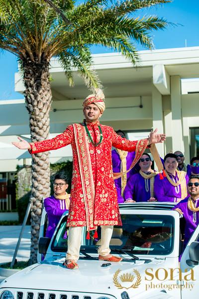 Indian Groom Dancing on Car in Baarat