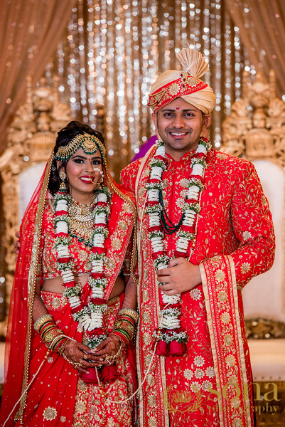 Indian Couple After Garland Exchange
