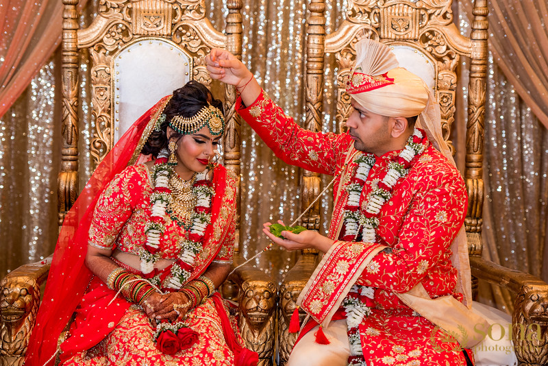 Indian bride and Groom at wedding ritual